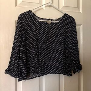 Pins & Needles feather print crop blouse